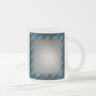Striped Silver Brushed Aluminum Frosted Glass Coffee Mug
