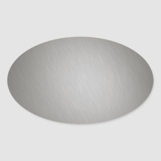 Striped Silver Brushed Aluminum Oval Sticker