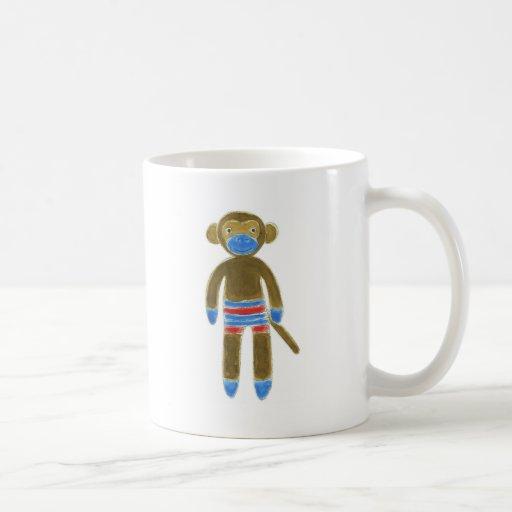 Striped Sock Monkey Classic White Coffee Mug