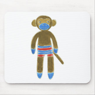 Striped Sock Monkey Mouse Pad