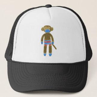Striped Sock Monkey Trucker Hat