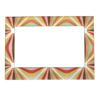 Striped square circus pattern magnetic photo frame