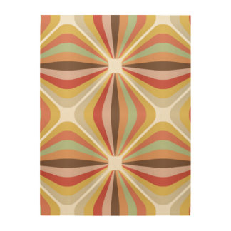 Striped square circus pattern wood wall art