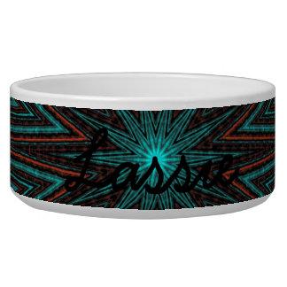 Striped Star, Cyan Orange Brown Abstract Modern Bowl