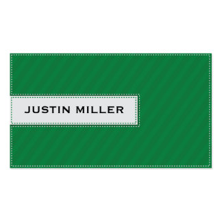 Striped Stitching - Green Double-Sided Standard Business Cards (Pack Of 100)