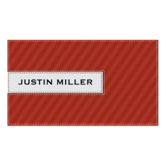 Striped Stitching - Red Double-Sided Standard Business Cards (Pack Of 100)