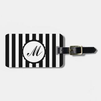 Striped Stripe Black White Custom Monogram Tag For Luggage