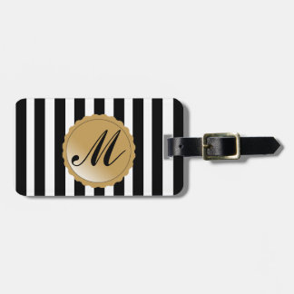 Striped Stripe Black White Gold Custom Monogram Bag Tag