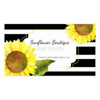 Striped Sunflowers Hair Stylist Business Cards