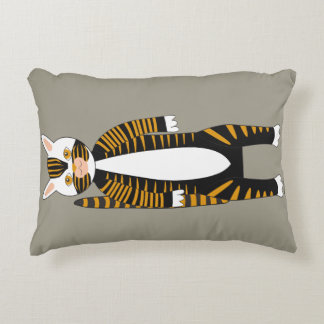 Striped tabby cat asleep or awake.Two sides Accent Pillow