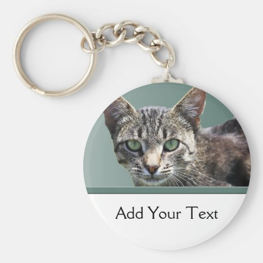Striped Tabby with Green Eyes Basic Round Button Keychain