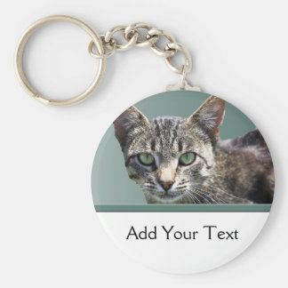 Striped Tabby with Green Eyes Keychains