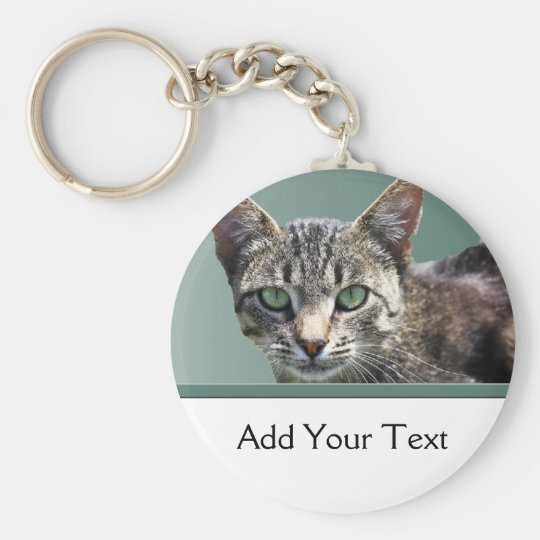 Striped Tabby with Green Eyes Keychain