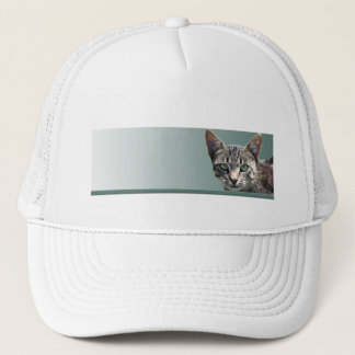 Striped Tabby with Green Eyes Trucker Hat