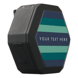 Striped Teal & Blue Custom Black Bluetooth Speaker