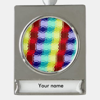 Striped textured glass silver plated banner ornament