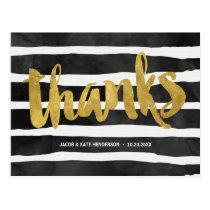 Striped Thanks   Faux Gold Foil Thank You Postcard