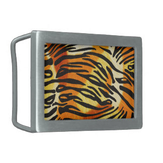 Striped Tiger Fur Print Pattern Rectangular Belt Buckle