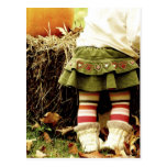 Striped tights and a pumpkin post cards