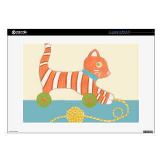 """Striped Toy Cat with Ball of String 15"""" Laptop Skins"""