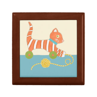 Striped Toy Cat with Ball of String Gift Box