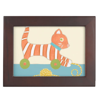 Striped Toy Cat with Ball of String Memory Boxes
