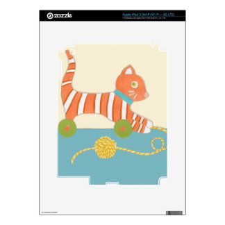 Striped Toy Cat with Ball of String Decal For iPad 3