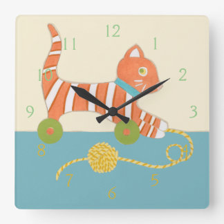 Striped Toy Cat with Ball of String Square Wall Clock