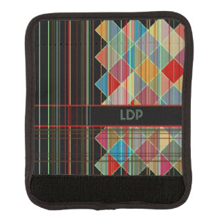 Striped Triangle Shapes with Initials on Black Luggage Handle Wrap