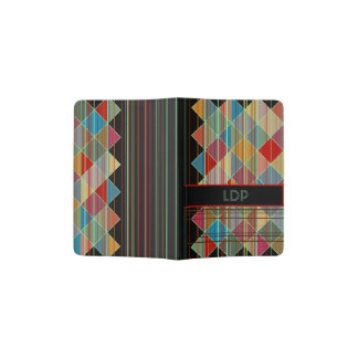 Striped Triangle Shapes with Initials on Black Passport Holder