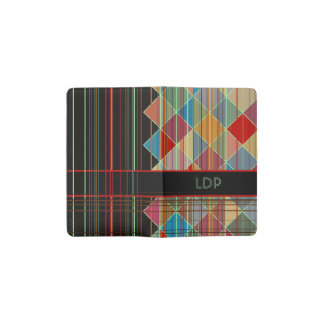 Striped Triangle Shapes with Initials on Black Pocket Moleskine Notebook