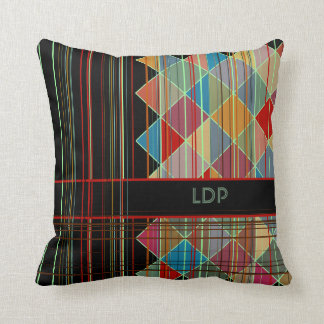 Striped Triangle Shapes with Initials on Black Throw Pillow