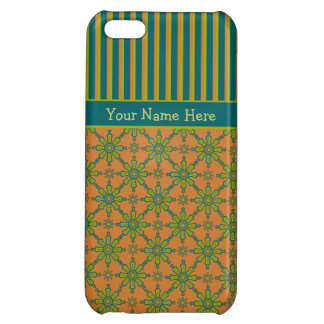 Striped, Tribal, Rust, Green, Blue iPhone 5c Case