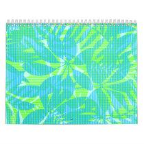 Striped tropical leaves calendar