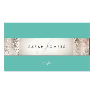 Striped Turquoise FAUX Silver Sequin Monogram 2 Business Card Template