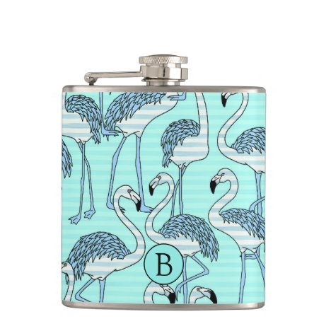 Striped Turquoise Flamingos Pattern Monogram Flask