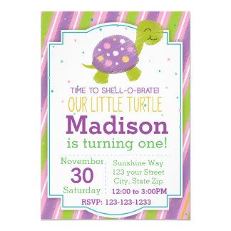 Striped Turtle Birthday Invitation (purple)