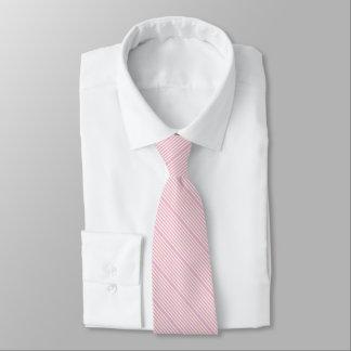 Striped two tone pastel pink cream neck tie