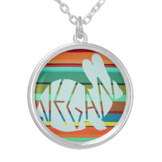 Striped Vegan Bunny Silver Plated Necklace
