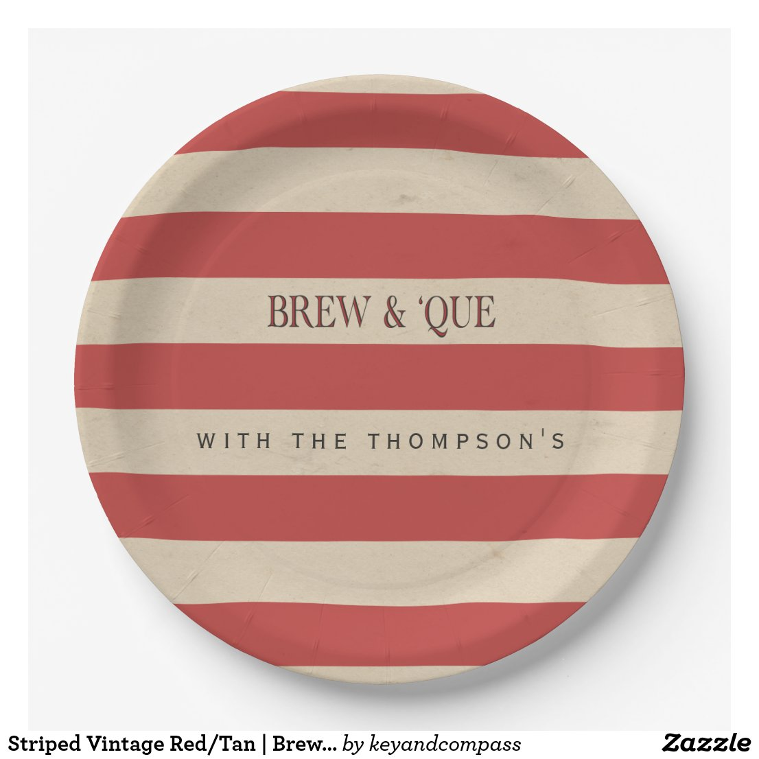 Striped Vintage Red/Tan | Brew & 'Que Personalized