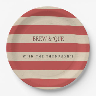 Striped Vintage Red/Tan | Brew & 'Que Personalized Paper Plate