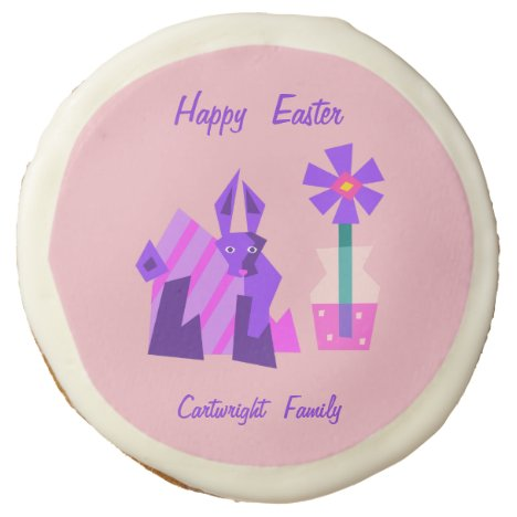 Striped Violet Easter Bunny and Flower Sugar Cookie