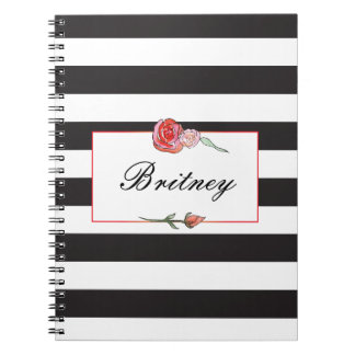Striped Water Color Rose Notebook