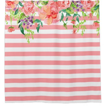 luxuryweddings Striped Watercolor Floral Roses Lavender Purple Shower Curtain