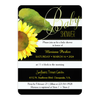 Striped Watercolor Sunflower Baby Shower 5x7 Paper Invitation Card