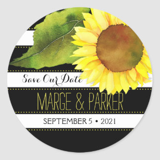 Striped Watercolor Sunflower Wedding Save Our Date Classic Round Sticker