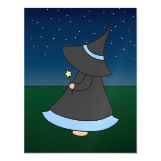 Striped Witchy Wendy 4.25x5.5 Birthday Invitation