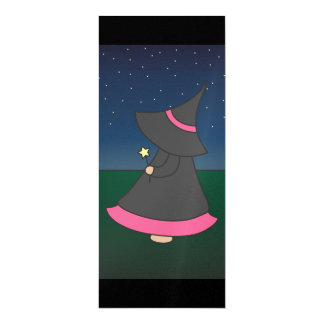 Striped Witchy Wendy 4x9.25 Birthday Invitation