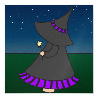 Striped Witchy Wendy 5.25x5.25 Birthday Invitation