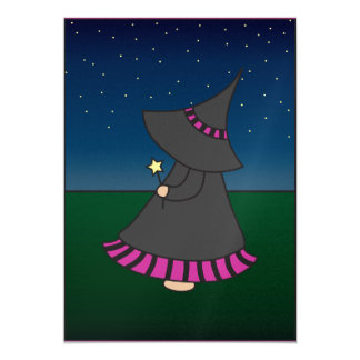 Striped Witchy Wendy 5x7 Birthday Invitation